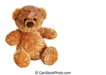 Get well soon - Portrait of a cute teddy bear with an...