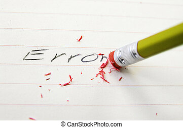 correct a mistake - Pencil closeup erasing an error on paper
