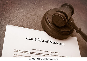 gavel and will - Legal gavel on Last will and testament...