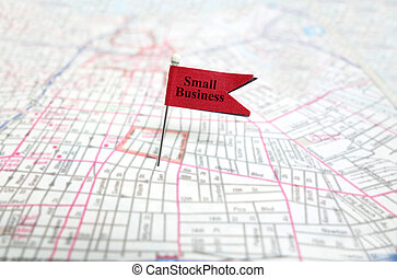 Small Business pin flag on map...