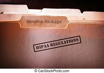 HIPAA Employee Benefits - file folders with HIPAA text and...