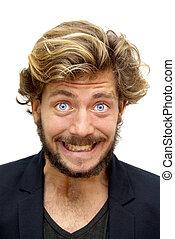bonito, homem, com, barba, e, azul, olhos,