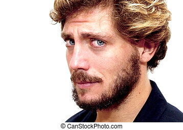 Handsome man with beard and blue eyes