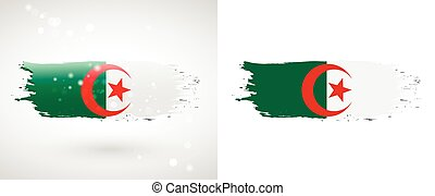 Algeria flag. Independence Day. Flag painted with a brush...
