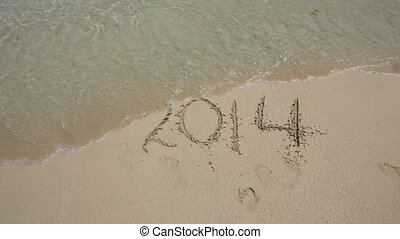 Year 2014 number washed off by wave - Year 2014 number...
