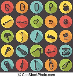 Climbing gear flat icons vector set - Climbing equipment and...