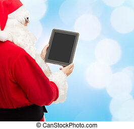 man in costume of santa claus with tablet pc - christmas,...