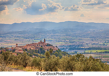 Italian hilltown Trevi - landscape of the ancient town on...