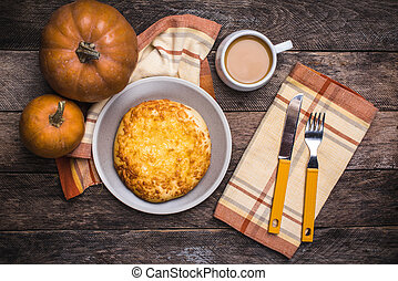 Lunch coffee with flatbread and pumpkins on wooden table....