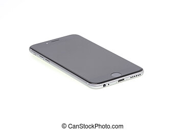 Black modern phone - Black modern iphone isolated on white.