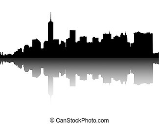 Silhouette of Manhattan. - Silhouette of Lower Manhattan on...