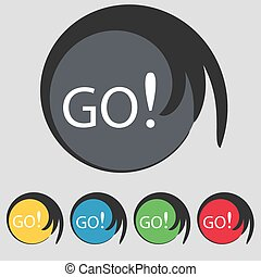 GO sign icon. Set of colored buttons. Vector illustration