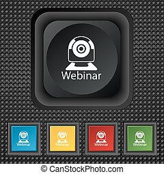 Webinar web camera sign icon Online Web-study symbol Website...