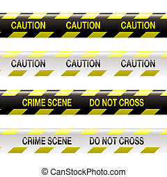 crime scene tape - yellow and black police tape with warning...
