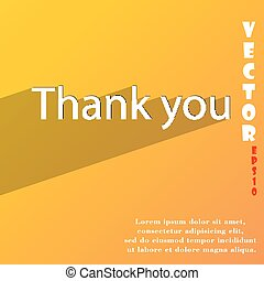 Thank you icon symbol Flat modern web design with long shadow and space for your text. Vector