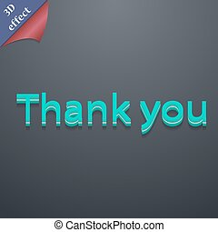 Thank you icon symbol. 3D style. Trendy, modern design with space for your text Vector