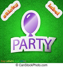 Party icon sign. Symbol chic colored sticky label on green background. Vector