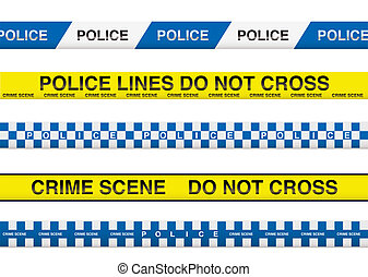 police tape - collection of five police tape with crime...