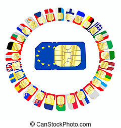 SIM cards represented as flags of European Union countries...