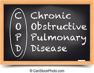 Blackboard COPD - detailed illustration of a blackboard with...