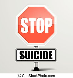 Stop Suicide - detailed illustration of a red stop Suicide...