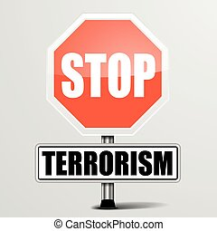 Stop Terrorism - detailed illustration of a red stop...