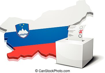 ballotbox Slovenia - detailed illustration of a ballotbox in...