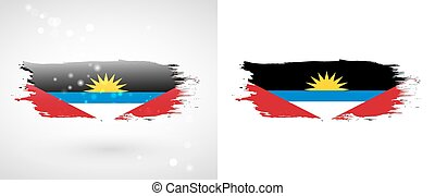 Flag of Antigua and Barbuda. Independence Day. Flag painted...