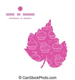 Vector colorful cupcake party leaf silhouette pattern frame