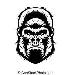 Gorilla Head BW - gorilla head vector graphic illustration...