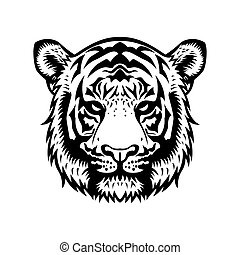Tiger Head BW - tiger head vector graphic illustration black...