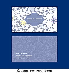 Vector ornamental abstract swirls horizontal frame pattern business cards set