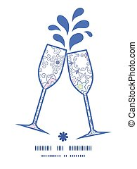 Vector ornamental abstract swirls toasting wine glasses silhouettes pattern frame