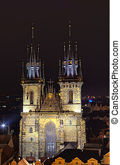 The Church of Mother of God in front of Tyn - Night view of...