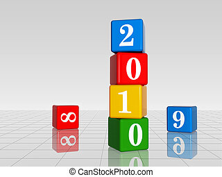 colour cubes with 2010 with 8 and 9, reflection - 3d colour...