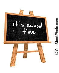 it\'s school time on blackboard - 3d isolated blackboard...