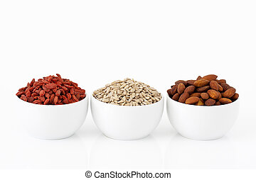 almonds, sunflower seeds and goji berries - Almonds,...