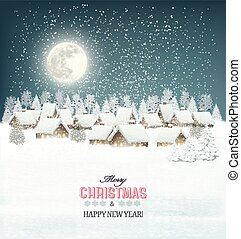 Winter village night background Vector