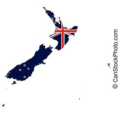 New Zealand Map Flag