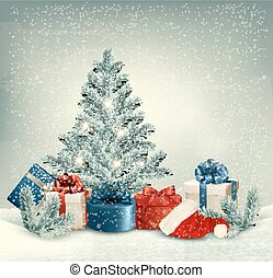 Winter background of christmas tree with presents and santa hat. Vector.