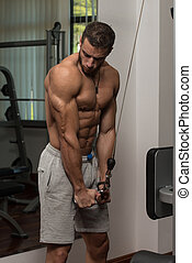 Healthy Young Man Doing Exercise For Triceps - Young Athlete...