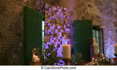 Chic restaurant decorated to celebrate wedding - View of...