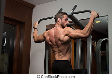 Young Man Doing Back Exercises In The Gym - Male Fitness...