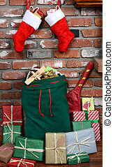 Santa Claus Bag on Hearth - Santa Claus' bag leaning on the...