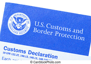 Customs declaration form - Macro closeup of U.S. Customs and...