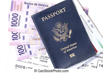Travel documents and pesos - Closeup of American passport,...