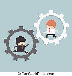 Businessmen running in gear, VECTOR, EPS10