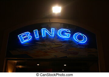 bingo. sign. bingo sign - neon sign advertising bingo at...
