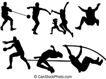 desporto, campo, e, pista, silueta,