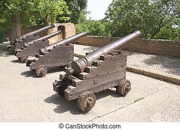 cannons, Sohail Castle, fuengirola - Spanish cannons on the...